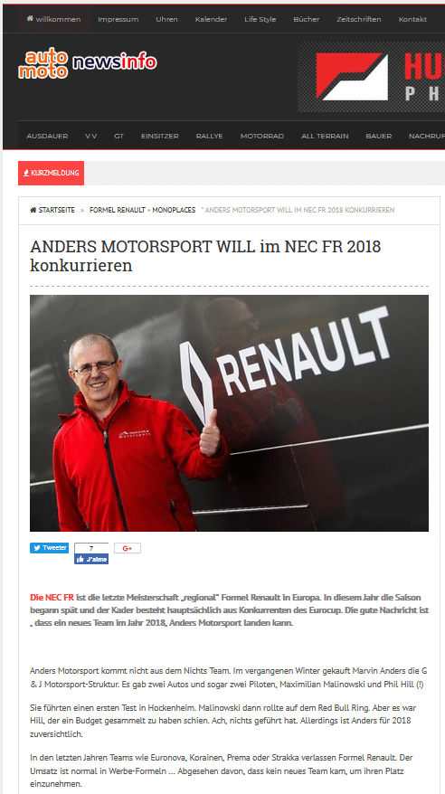 ANDERS MOTORSPORT WILL im NEC FR 2018 konkurrieren